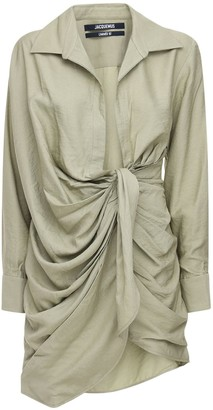 Jacquemus Draped Viscose Blend Mini Dress W/ Knot