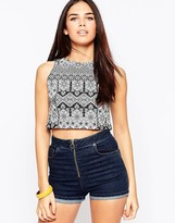 Motel Xaria Crop Top In Folklore Print