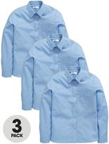 Very Schoolwear Girls Long Sleeve School Blouses - Blue (3 Pack)