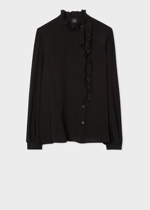 Paul Smith Women's Black Silk Shirt with Ruffle Details
