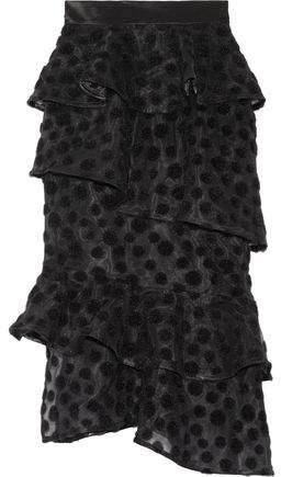 House of Holland Satin-Trimmed Flocked Tulle Skirt