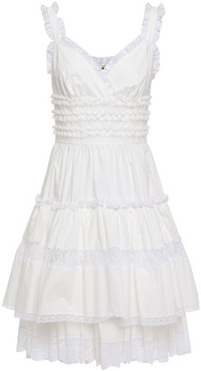 Dolce & Gabbana Tiered Ruffled Lace And Cotton-blend Poplin Dress