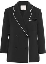 Tibi Spectator Silk-trimmed Woven Blazer - Black