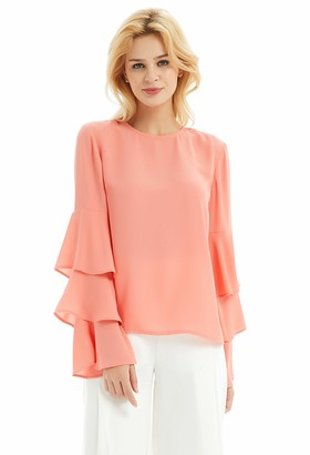 Basic Model Bell Sleeve Blouses for Women Long Sleeve Chiffon Tops Work Shirts with Keyhole Back