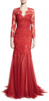 Monique Lhuillier Lace & Tulle V-Neck Mermaid Gown, Dark Red