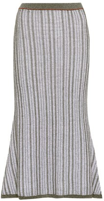 Victoria Beckham Striped wool and cotton skirt