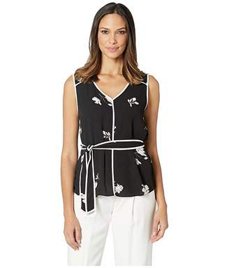Vince Camuto Sleeveless Elegant Tossed Flowers Belted Blouse