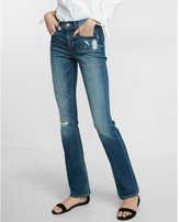 Express Mid Rise Distressed Stretch Barely Boot Jeans