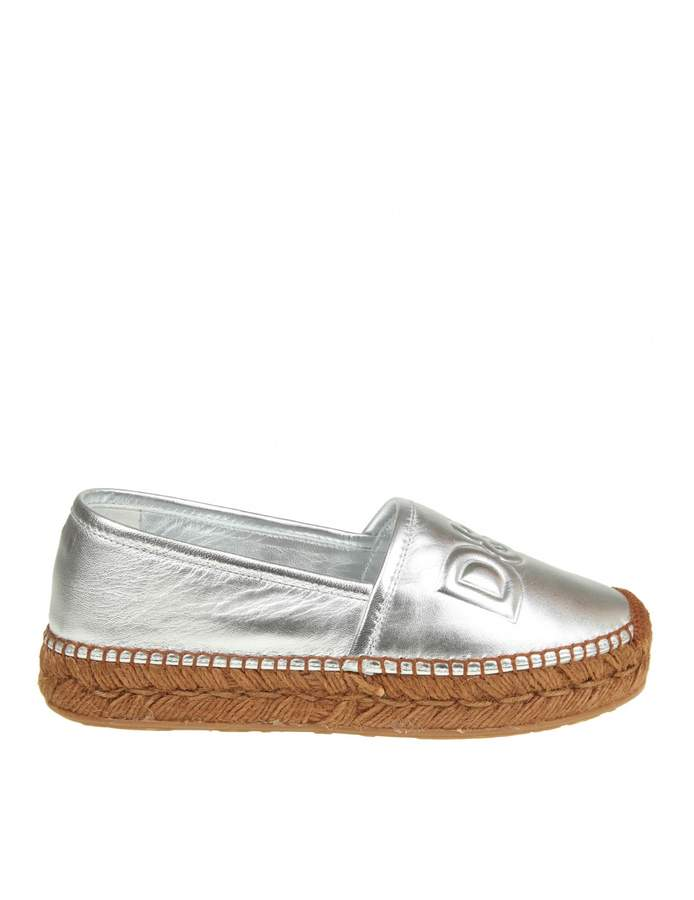 Dolce & Gabbana Espadrillas In Silver Leather With Logo