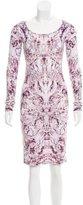 Alexander McQueen Abstract Print Long Sleeve Dress