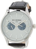 Ben Sherman Men's Quartz Watch with Grey Dial Analogue Display and Black Leather Strap WB024SA