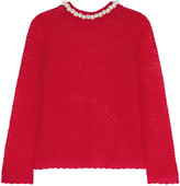 Simone Rocha Faux pearl-embellished mohair-blend sweater