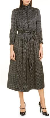 Marc Jacobs Polka Dot Ruffle Collar Satin Midi Dress