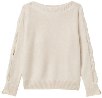 Lafayette 148 New York Braided Cable-Knit Cashmere Sweater
