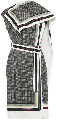 Proenza Schouler Belted Draped Printed Twill Midi Dress