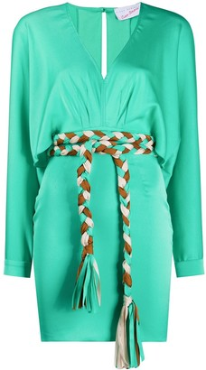 Giada Benincasa Tie-Waist Crepe De Chine Mini Dress