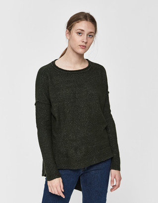 Hunter Stelen Women's Lyndsey Asymmetric High-Low Sweater in Green, Size Small