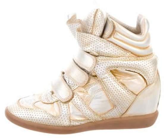 Wedge Sneakers Distressed Gold Metallic Metallic Metallic Wedge Sneakers Gold Distressed 1TclFKJ
