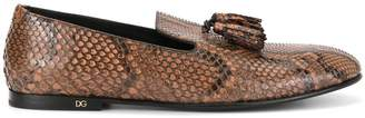 Dolce & Gabbana snake effect tassel loafers