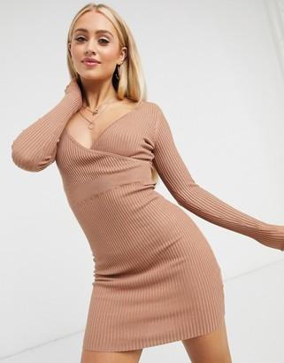 Brave Soul greta knitted wrap dress in rib