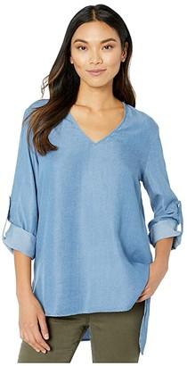 Karen Kane Shirttail Roll-Tab Top (Chambray) Women's Clothing