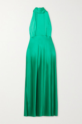 Saloni Michelle Silk-satin Halterneck Midi Dress