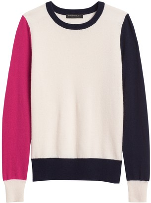 Banana Republic Petite Cashmere Color-Blocked Sweater
