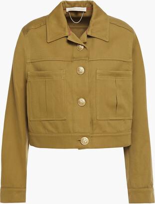 Vanessa Bruno Nebi Cropped Cotton And Linen-blend Twill Jacket