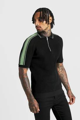 boohoo MAN Regular Fit Knitted Half Zip Polo