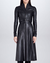 J. Mendel Cropped Trapunto Leather Moto Jacket, Black