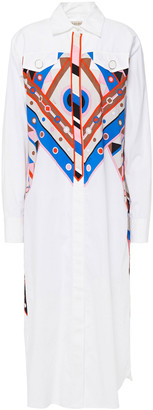 Emilio Pucci Printed Stretch-cotton Poplin Midi Shirt Dress