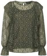 Dorothy Perkins Khaki Metallic Lace Ruffle Top