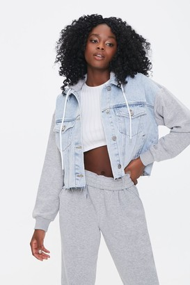 Forever 21 Combo Hooded Denim Jacket