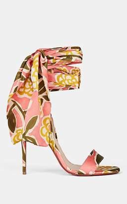 Christian Louboutin Women's Sandale Du Desert Satin Ankle-Wrap Sandals