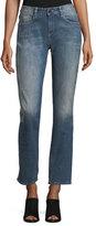 Brockenbow Stardust Beaded Straight-Leg Cropped Boyfriend Jeans