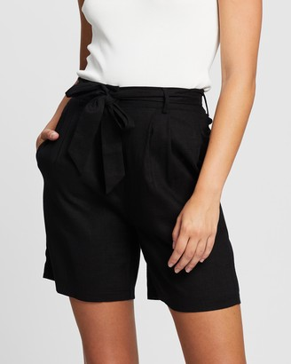 Atmos & Here Atmos&Here - Women's Black High-Waisted - Kym Linen Blend Tie Waist Shorts - Size 6 at The Iconic