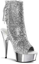 Pleaser USA Women's Delight 1018G - Silver Glitter/Silver Chrome Heels
