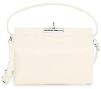 Gu De Mini Milky Croc-Embossed Leather Crossbody Bag