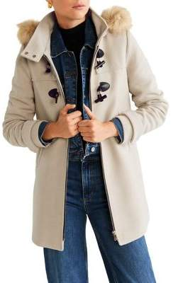 MANGO Faux Fur-Trim Hooded Coat