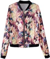 Alionz Women Autumn Stand Collar Floral Slim Fitted Baseball Blazer Jacket L