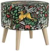 Skyline Furniture Mfg. Round Ottoman With Splayed Legs, Frolic Evergreen