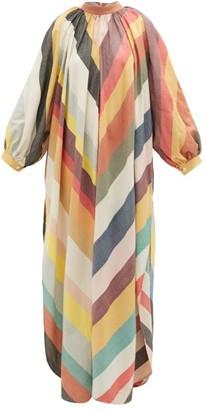 Marrakshi Life - Touareg Chevron-striped Cotton-blend Maxi Dress - Multi Stripe
