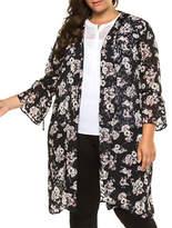 Dex Plus Long-Sleeve Printed Kimono Cardigan