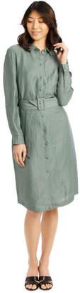 Basque Linen Blend Shirt Dress