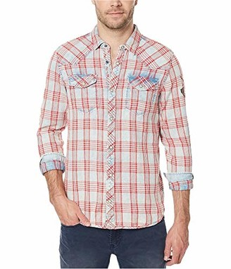 Buffalo David Bitton Men's Siqel Long Sleeve Light Denim Button Down Shirt