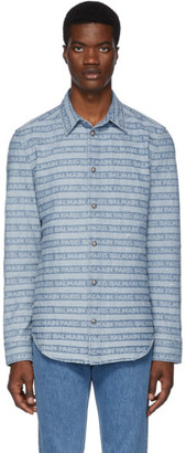 Balmain Blue Logo Stripe Denim Shirt