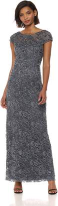 Adrianna Papell Women's Allover Beaded LACE Long Cap Sleeve Dress