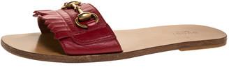 Gucci Red Fringe Leather Horsebit Slide Sandals Size 38