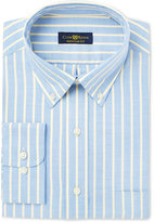 Club Room Men's Estate Classic/Regular Fit Wrinkle Resistant Yellow Blue Oxford Stripe Dress Shirt, Only at Macy's