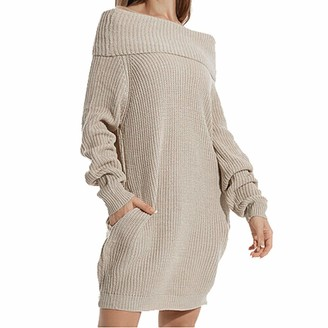 Whycat Off Shoulder Jumper Dress Women Knitted Long Jumper Dress Turtleneck Jumper Dress with Pockets Loose Casual Pullover